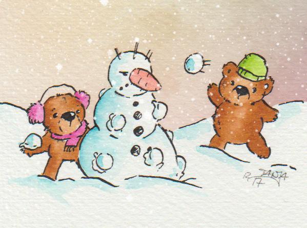 Dem Schneemann gefällt es gar nicht, dass er zwischen die Fronten der Schneeballschlacht geraten ist.