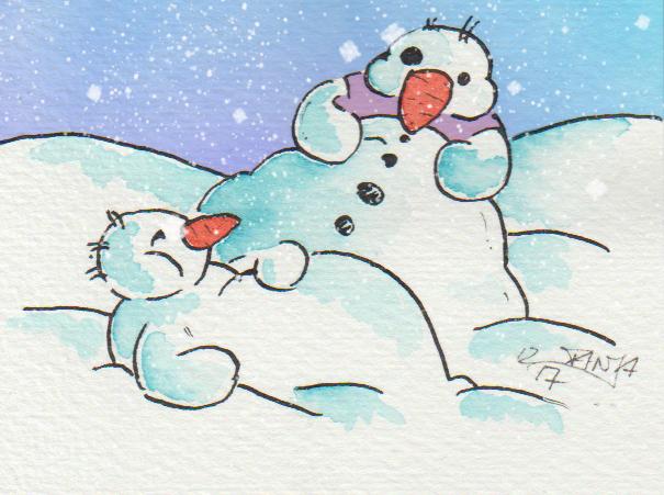 Die Schneemänner sind mit dem Festessen bereits fertig und haben ordentlich zugeschlagen.
