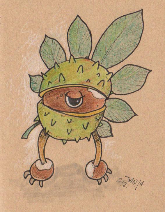 Buntstift-Zeichnung für die 365-Tage-Doodle-Challenge zum Thema: Kastanie.