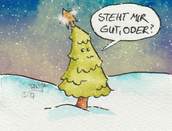 Der Tannenbaum ist sehr stolz auf seinen Stern.