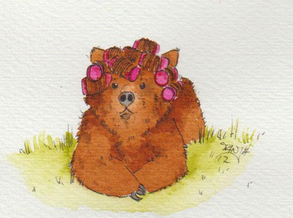 Zeichnung von einem Bären mit Lockenwicklern für die 365-Tage-Doodle-Challenge.