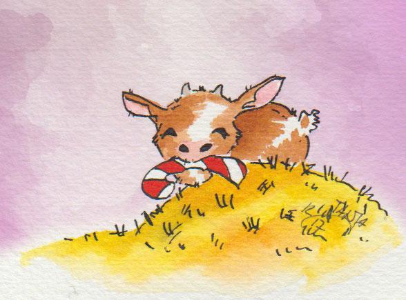 Zeichnung in Aquarell von einer Ziege mit einer Zuckerstange.