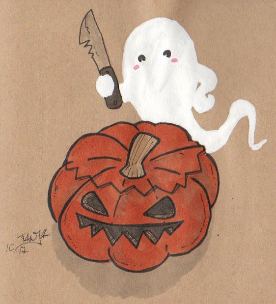 Zeichnung für die 365-Tage-Doodle-Challenge zum Thema: Kürbis.