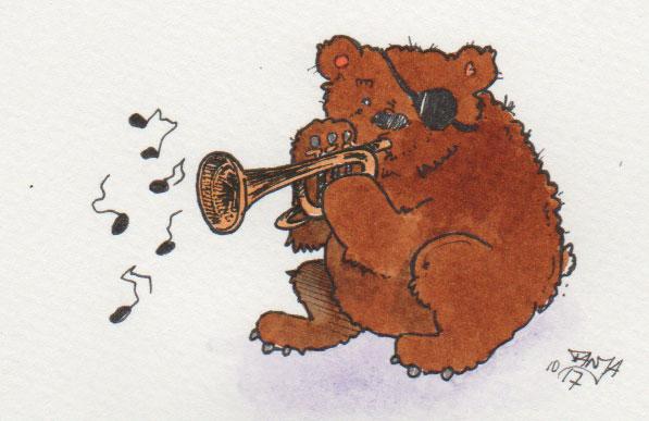 """Zeichnung für die 365-Tage-Doodle-Challenge zum Stichwort """"Trompete""""."""