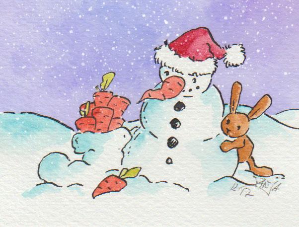 Zeichnung: Schneemann mit Hase