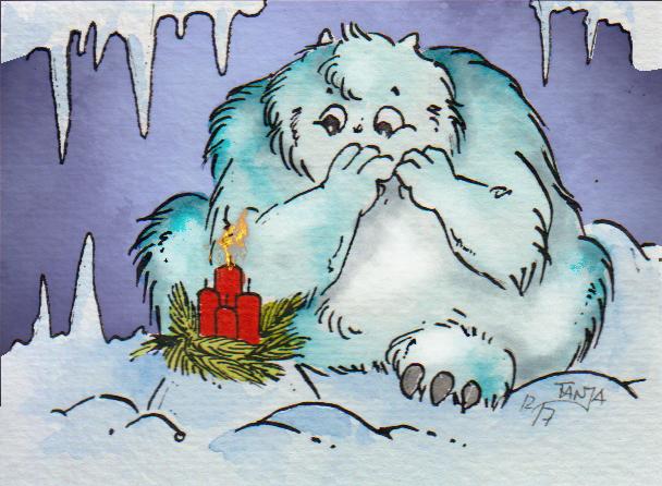 Ein Yeti mit Adventskranz.
