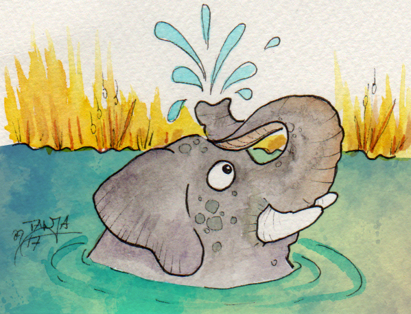 Aquarellzeichnung für die 365-Tage-Doodle-Challenge zum Thema Elefant