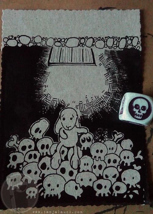 Halloween Inktober Zeichnung Tinte Hase Totenkopf Storycubes