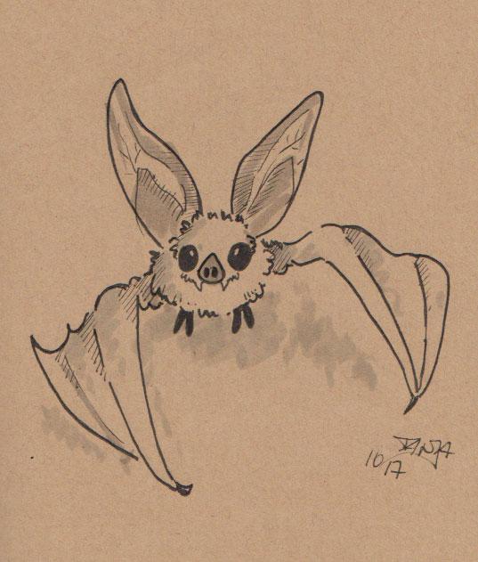 Inktober 2017 - Zeichnung Nr. 05 - Stichwort: Fledermaus