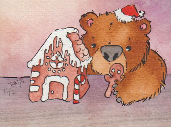 Zeichnung: Der Bär hat ein Lebkuchenhaus gebaut.