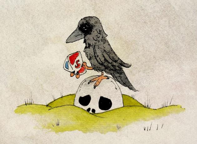 Zeichnung für die 365-Tage-Doodle-Challenge zum Thema: Rabe.