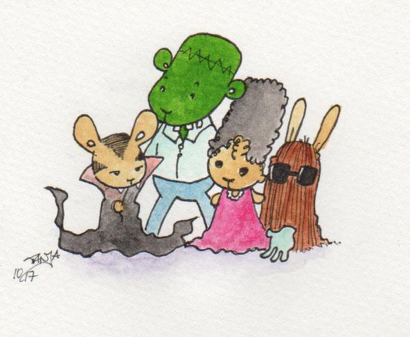 """Aquarellzeichnung für die 365-Tage-Doodle-Challenge zum Thema """"Familie""""."""