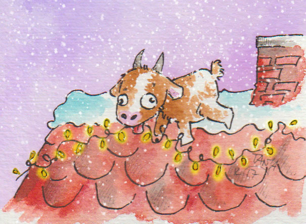 Zeichnung einer Ziege, die versucht auf einem Dach eine Lichterkette anzubringen.