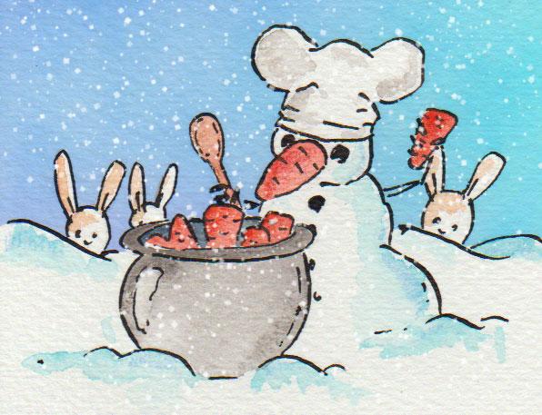 Aquarellzeichnung für die 365-Tage-Doodle-Challenge: Schneemann mit Kochmütze