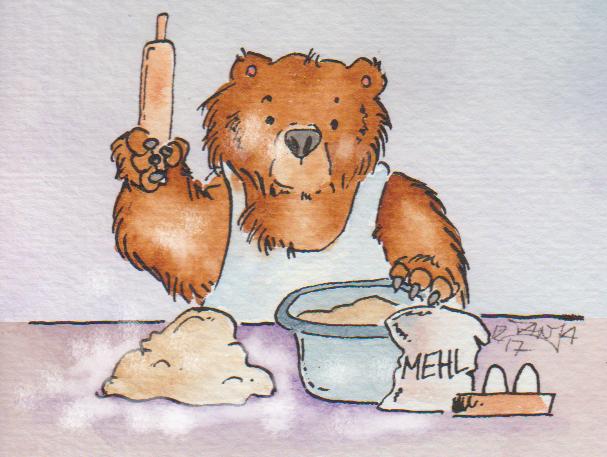 Zeichnung: Ein Bär beim Backen von Plätzchen.