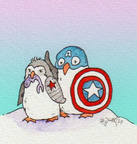 .. Captain America und der Winter Soldier als Pinguine - wäre bestimmt ein echt putziger Film 😂