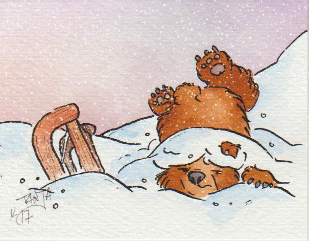 Zeichnung: ein Bär beim Schlitten fahren