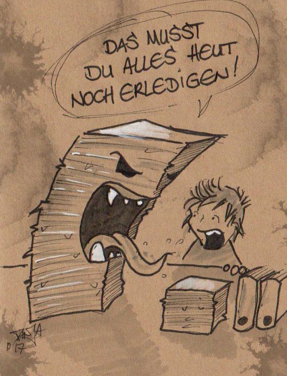 Zeichnung für die 365-Tage-Doodle-Challenge zum Thema: Schreibtischchaos.