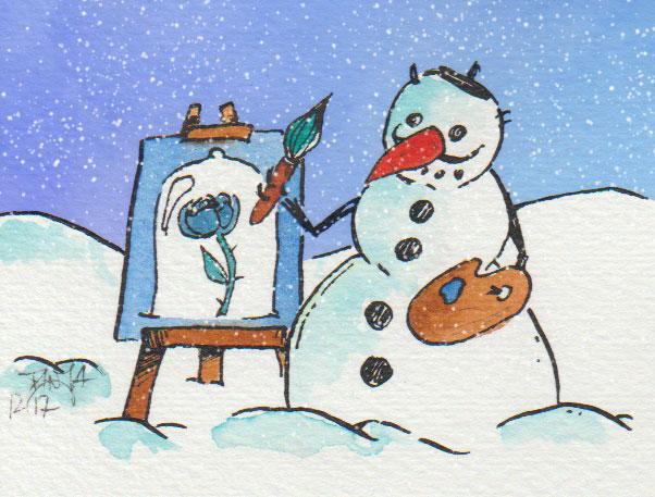 Naja - der nächste Picasso wird der Schneemann wohl nicht.