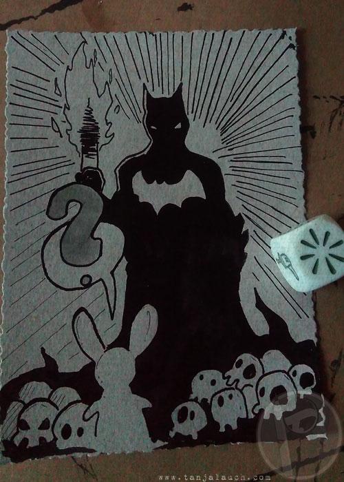 Inktober Tinte Zeichnung Batman Storycubes