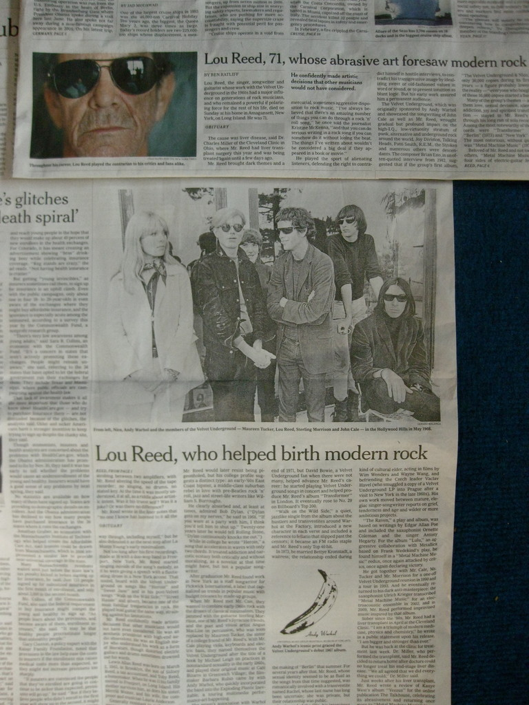 先日亡くなったルー・リード。私もファンの1人でしたが、彼は日本でも熱烈なファンはいたんだけど、マイナーなミュージシャンだととらえていた。それがパキスタンの新聞で彼が死去したニュースがけっこう大きく取り上げられて驚いた。そうでなくてもパキスタンは一般的に歌や踊りなどの芸術文化が開花しにくい国なのに、どんだけの人がルー・リードを聴いていたんだろうかね。