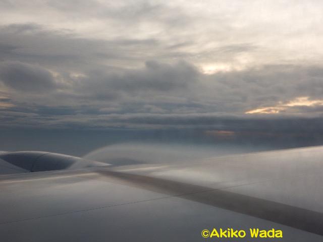 バンコクに向かう飛行機で、気流によってなのか、雲の一部のようなものが羽からブワーと湧き出ているのを発見。
