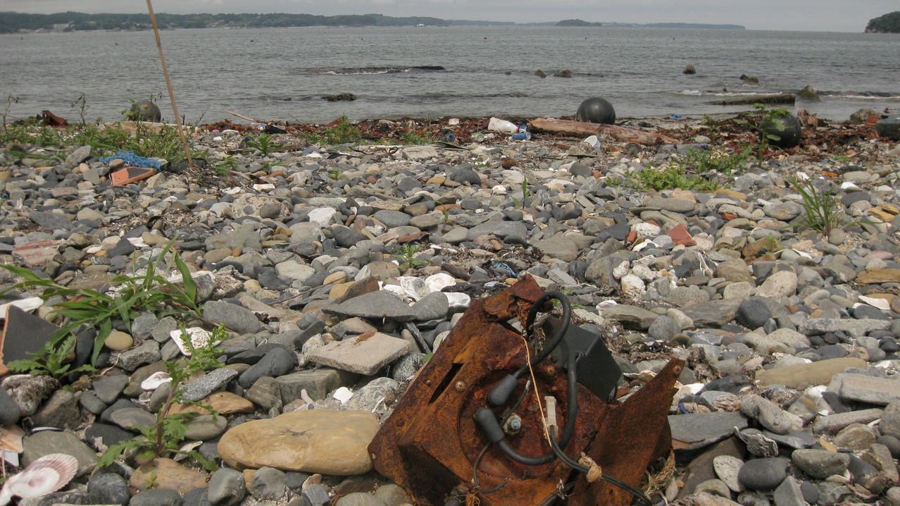 浜にはたくさんの物のかけらが落ちていた。