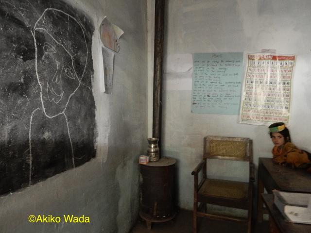 ブルーン村の小学校の黒板の落書き