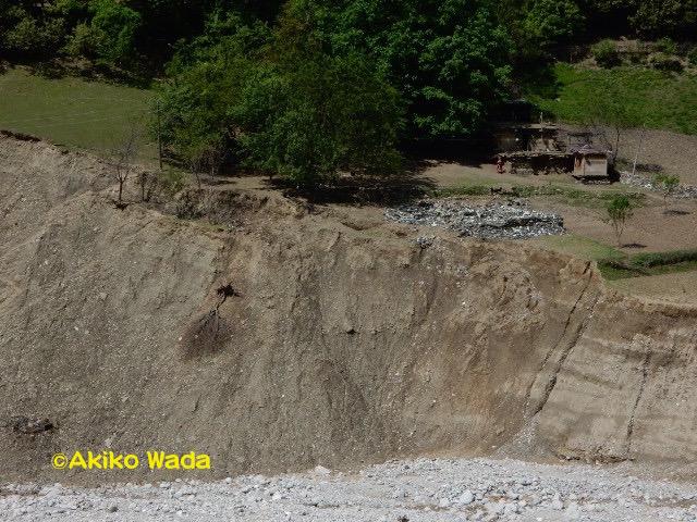 昨年夏の数十回にわたる鉄砲水で、上流の畑の多くが削り流されたり、土石流を被った。ここにあった建てたばかりの家と古い家も流されてしまった。