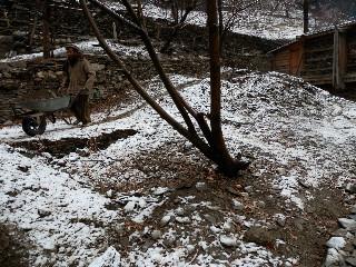 雪の日も休まずに作業をする。
