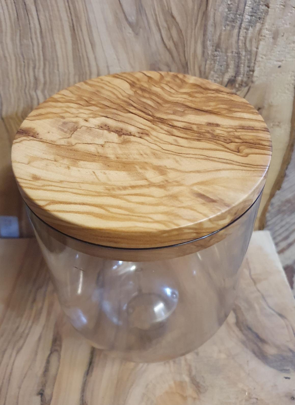 Kaffee Mühle Deckel aus Olivenholz