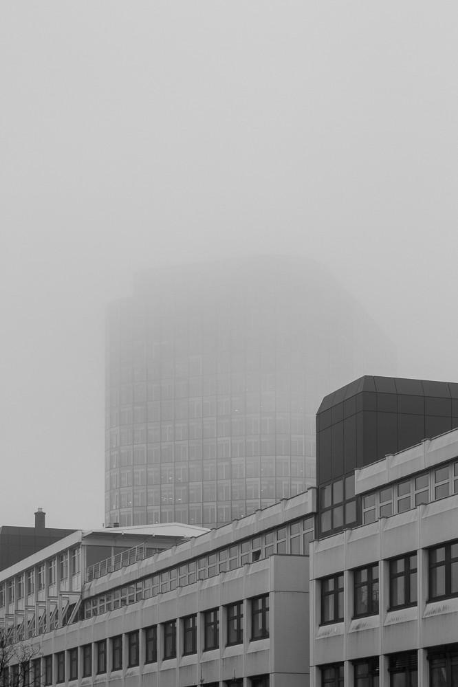 ADAC-Zentrale im Nebel, Februar 2015