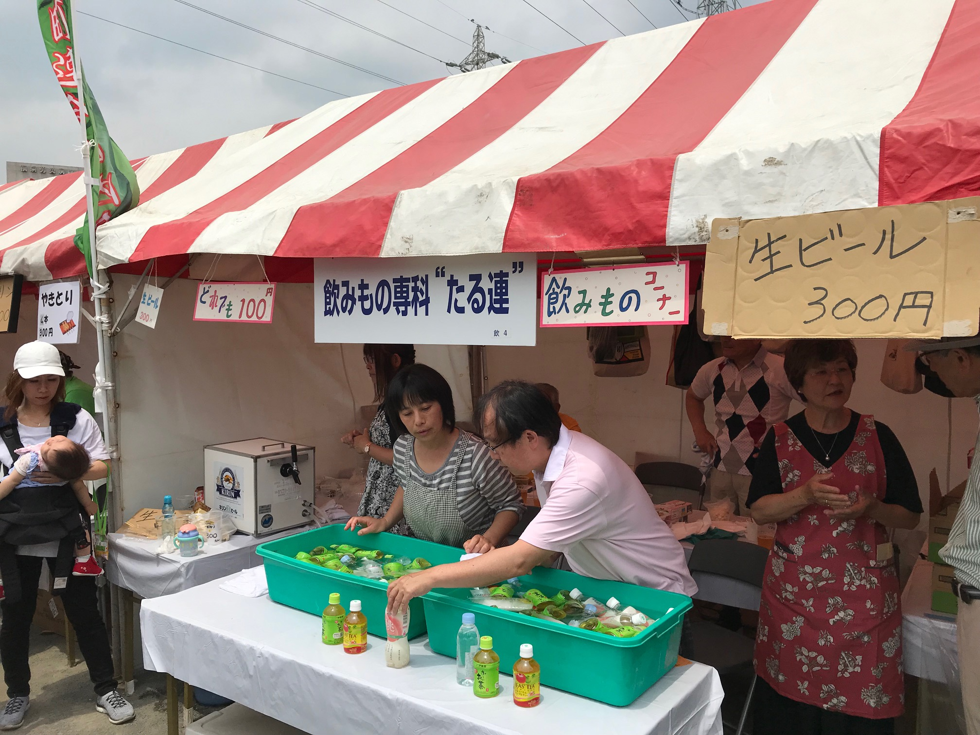 樽町ブース開店 午後からの暑さで生ビール完売!