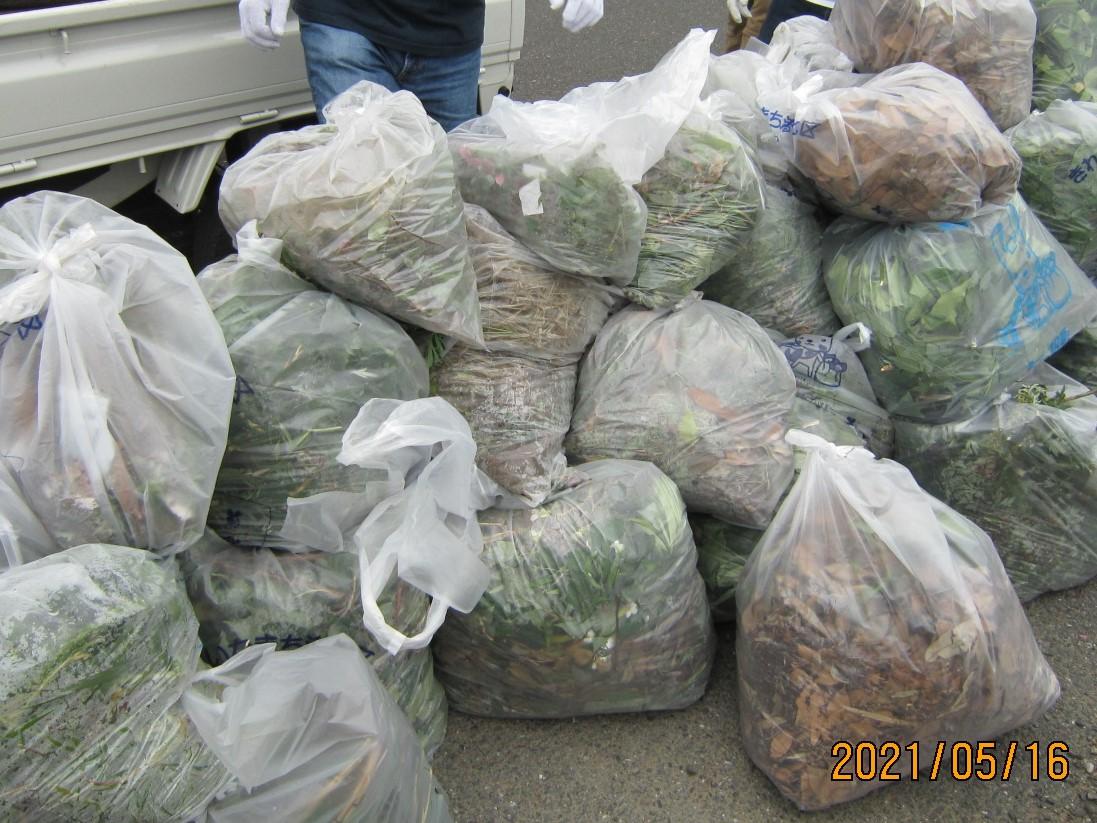 3か所の指定収集場所に集めます。総数243袋と土砂などコンテナ40個を回収。