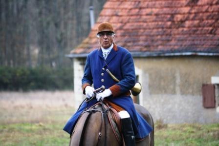 Cavalier chasse à courre, château Gizeux, France