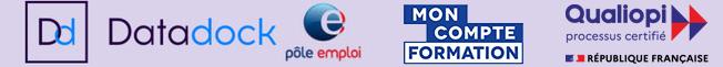 Logo des Datadock, Pôle emploi, Mon Compte Formation