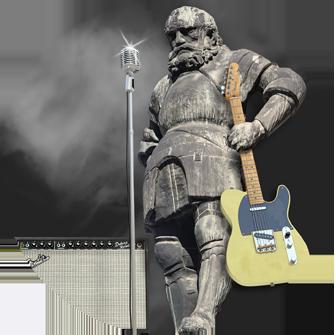 Jörgl von Schwaz, Wahrzeichen mit E-Gitarre und Mikrofon als Beispielbild für Grafikdesign