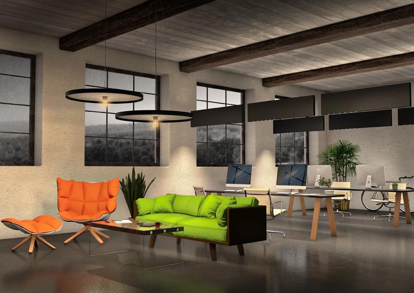 Lichtplanung, 3D-Rendering eines selbstentworfenen Raumes mit Popart-Bildern und Designerleuchten
