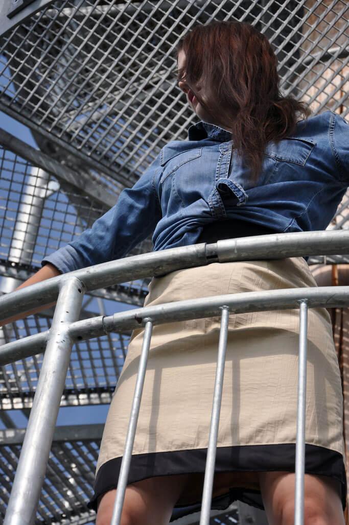 selbstgenähter Bleistiftrock nähen Jeansbluse Bürooutfit Modeblog selbstgenähte Kleidung Nähblog Fairy Tale Gone Realistic