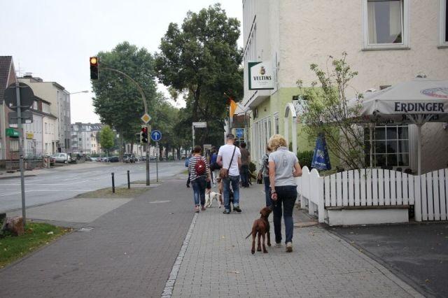 Wir gehen an einer stark befahren Straße entlang