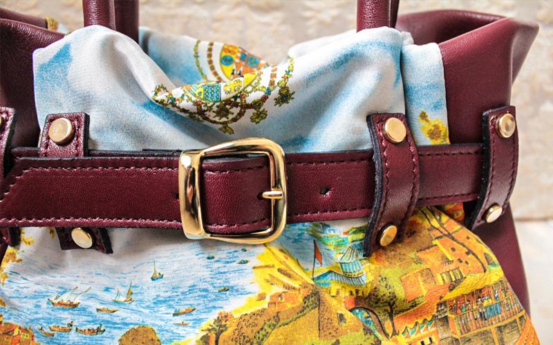 borsa artigianale in pelle e seta, lavorazione Napoletana by Argenio Napoli