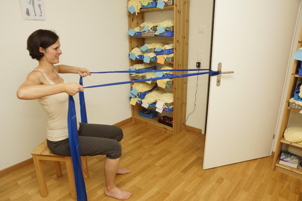 Instruktion einer Übung fürs Heimprogramm