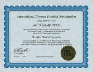 米国ITT0(国際セラピートレーニング協会)    セラピスト認定証