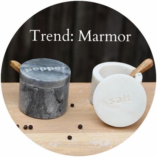Das Auge isst mit -- Salz- und Pfefferstreuer aus dem Trendmaterial Marmor
