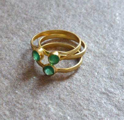 Ring Set - 3 Goldringe mit grünen Achaten
