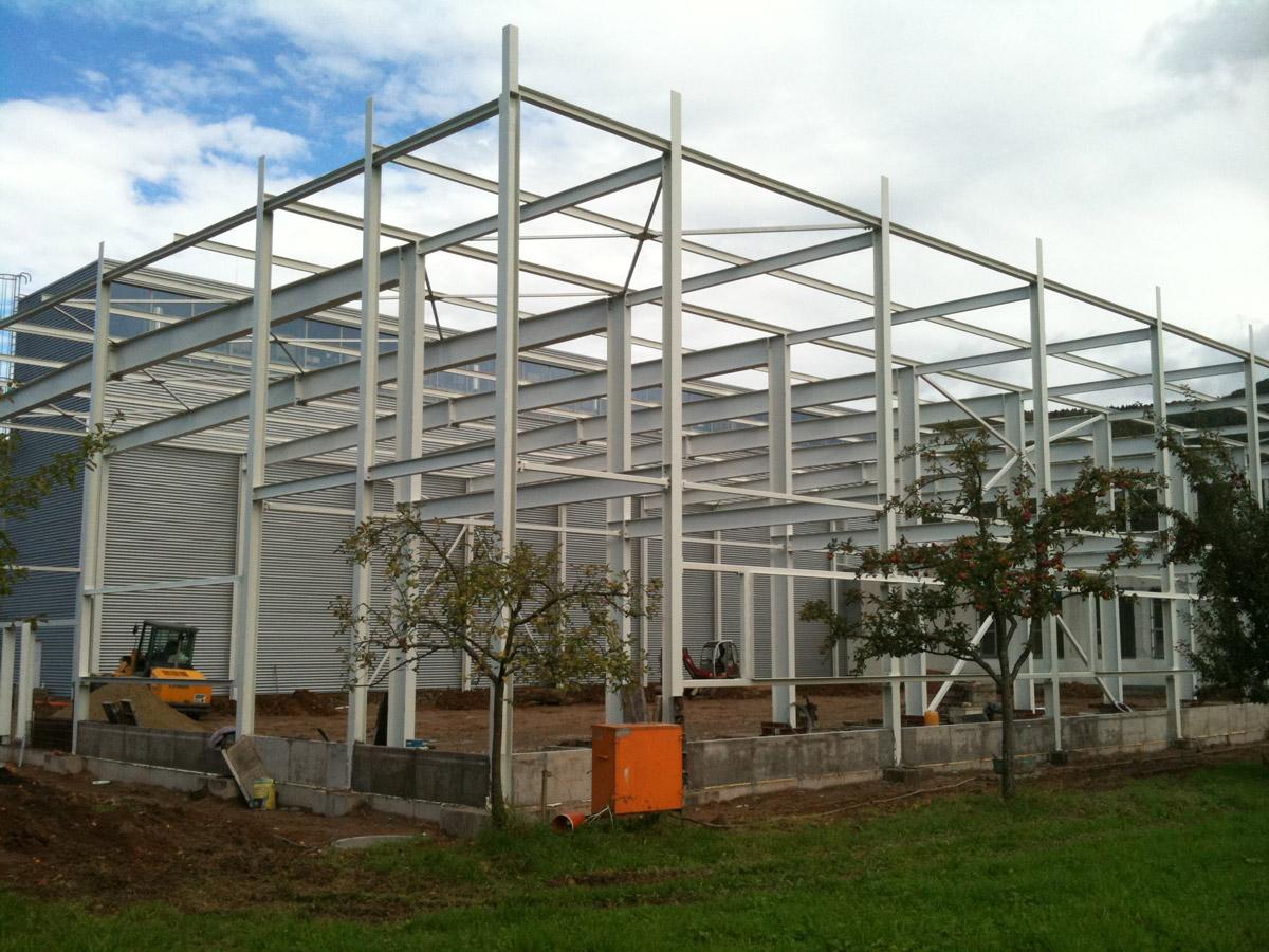 Neubau Produktionshalle in Steinach, Stahlbau