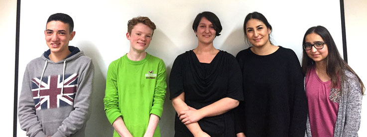 Das Redaktionsteam 2016/17 des Jugendrats: Aiman, Gereon, Zehra, Birgül und Hilal (v.l.n.r)