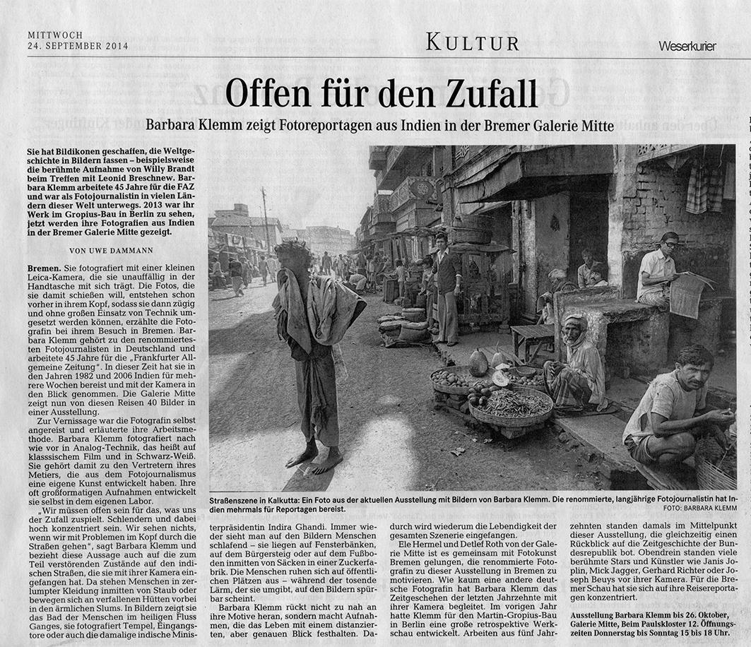 Weserkurier, Uwe Dammann, 24.09.2014