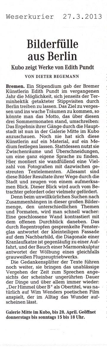Weserkurier, Dieter Begemann, 27.03.2013