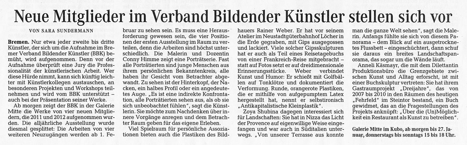 Weserkurier, Sara Sundermann, 10.01.2013